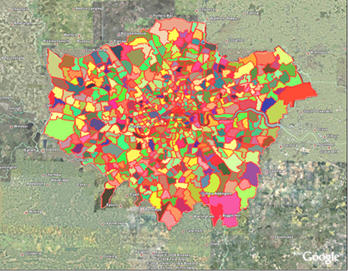 map of london neighborhoods showing expansion of newer neighborhoods factle 2008