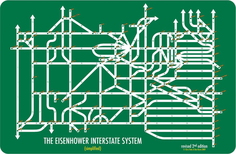 Eisenhower Interstate System Simplified - Simplified us interstate map