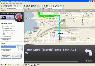 MapPoint Driving Guidance Pane
